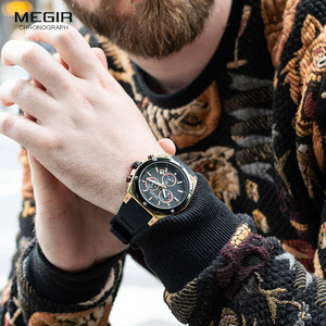 Image 5 - Megir Sports Silicone Chronograph Quartz Watches Army Casual Waterproof 24 hour Analogue Wristwatch for Man Black Rose 2073 1N0