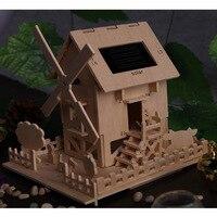 2017 New Solar Toy Windmill House DIY Wooden Model 3D Puzzle Assemble Solar Toys Children S