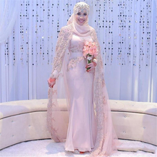 Long Sleeve Muslim Dress Gorgeous Beaded Crystal Bridal Gowns High Neck Appliques Mermaid Vintage Wedding Dresses With Hijab