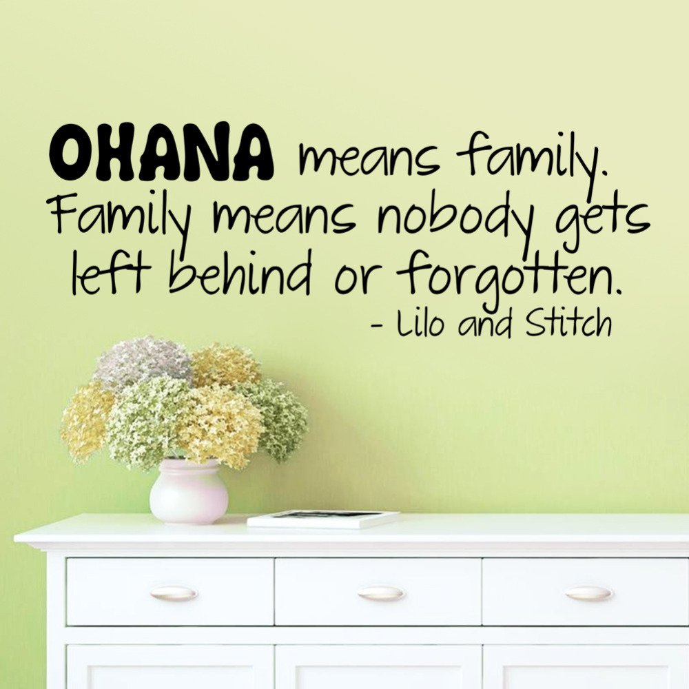 Fashion Ohana Means Family Cartoon Design Wall Sticker Lilo And