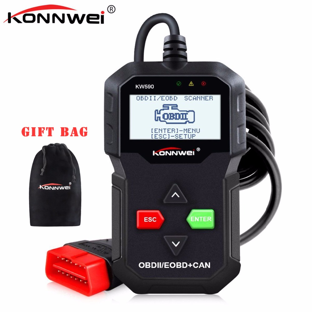 KONNWEI KW590 OBD2 Car Auto Diagnostic Scanner Multi-languages OBDII Code Reader Better Than AD310 in Russian Diagnostic Tool tier flounce plus size two piece corset dress