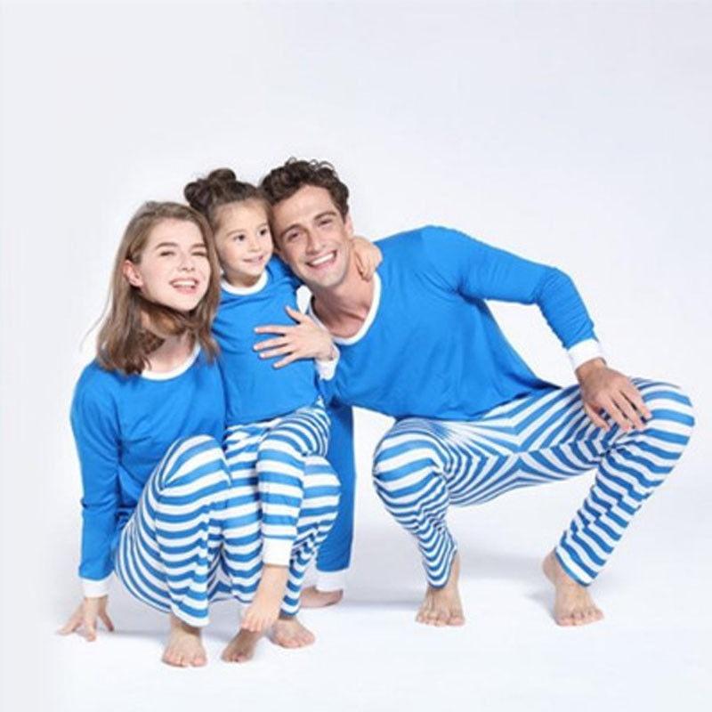Correspondência da família Pijama Natal Definir Mulheres Adultas Crianças Bebê Sleepwear Listra Azul Roupa de Dormir Inverno Quente Família Roupas Combinando