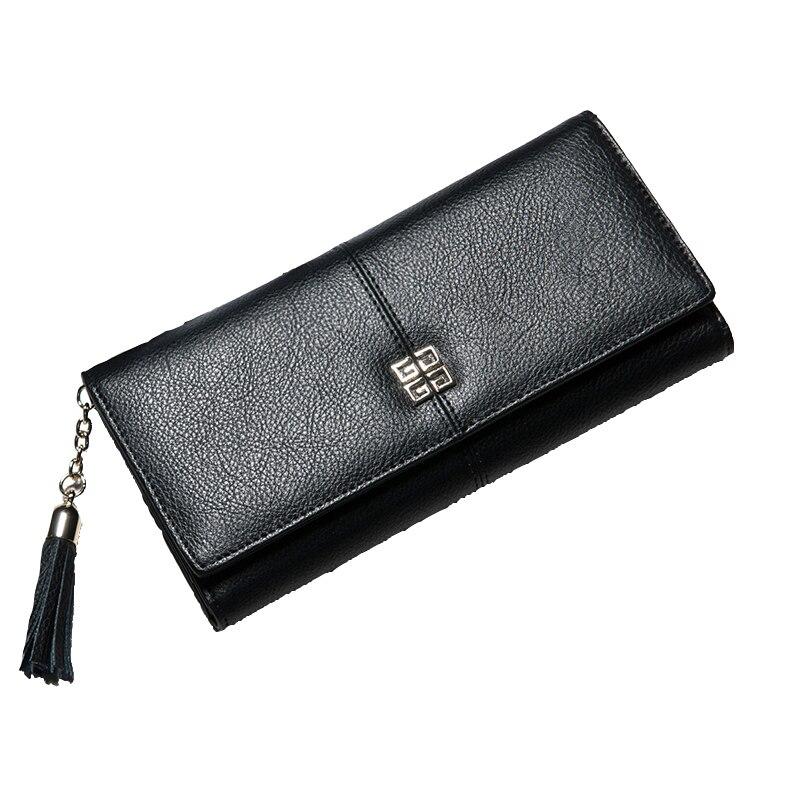 ФОТО Large Capacity Ladies Clutch  Women Genuine Leather luxury Brand Purses Cowhide Solid Wallet Billfold Fashion Long Pocketbook