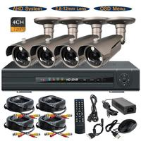 4CH 720P AHD M DVR System Waterproof 1 0MP 2 8 12mm Lens OSD CCTV Security