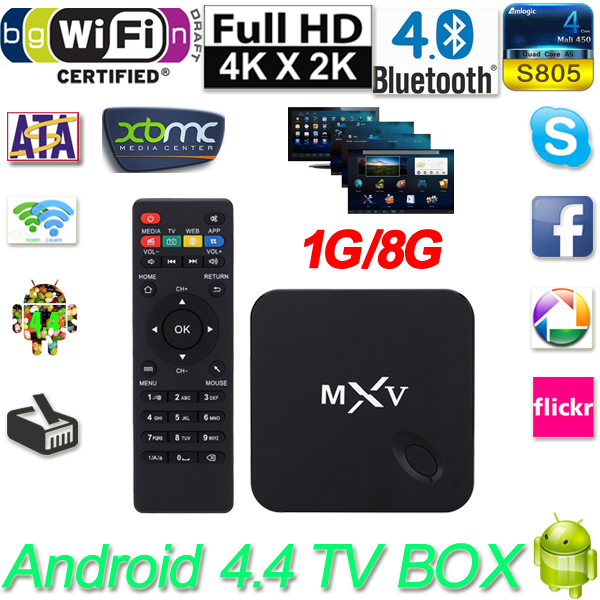 1080P MXV Smart Android 4.4 TV Box Amlogic S805 Quad Core 1G/8G H.265 XBMC DLNA Miracast Airplay WiFi Bluetooth 4.0 Set Top Box m8 fully loaded xbmc amlogic s802 android tv box quad core 2g 8g mali450 4k 2 4g 5g dual wifi pre installed apk add ons