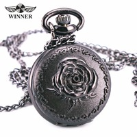 Luxury Curtly Vintage Retro Antique Victoria Baroque Black And Silver Gothic Rose Pocket Watch Pendant Long