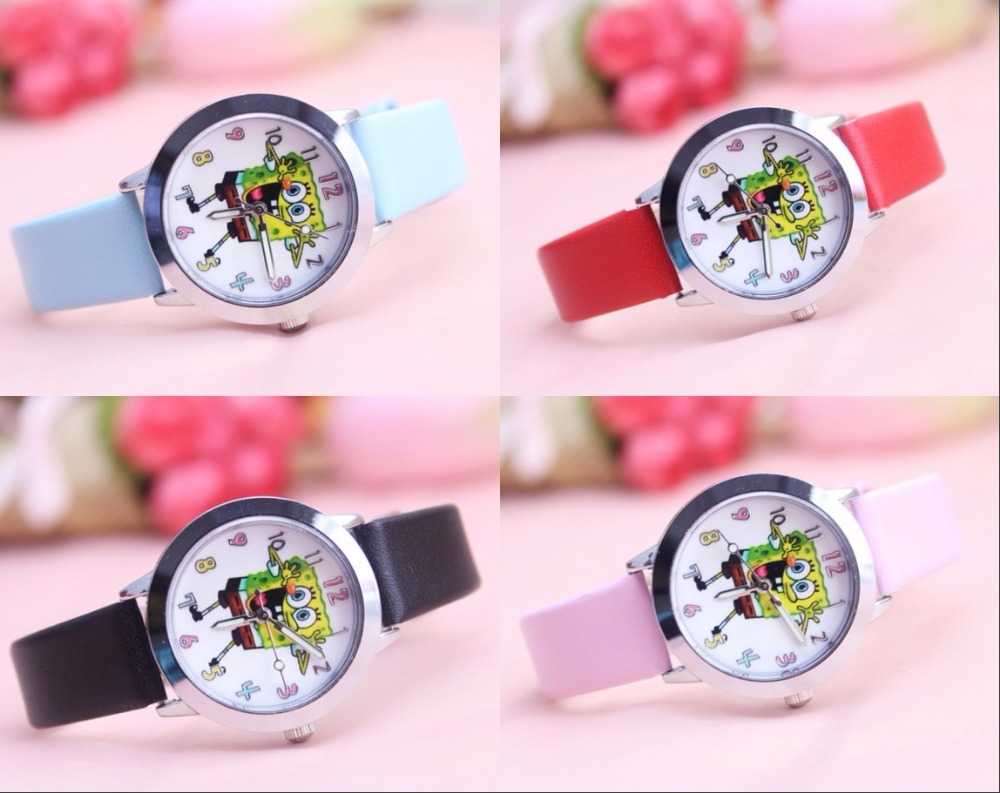 Drop Shipping Hot Sell  SpongeBob 3D Cartoon Watches Boy's Kids Alloy Case Leather Quartz Wristwatches