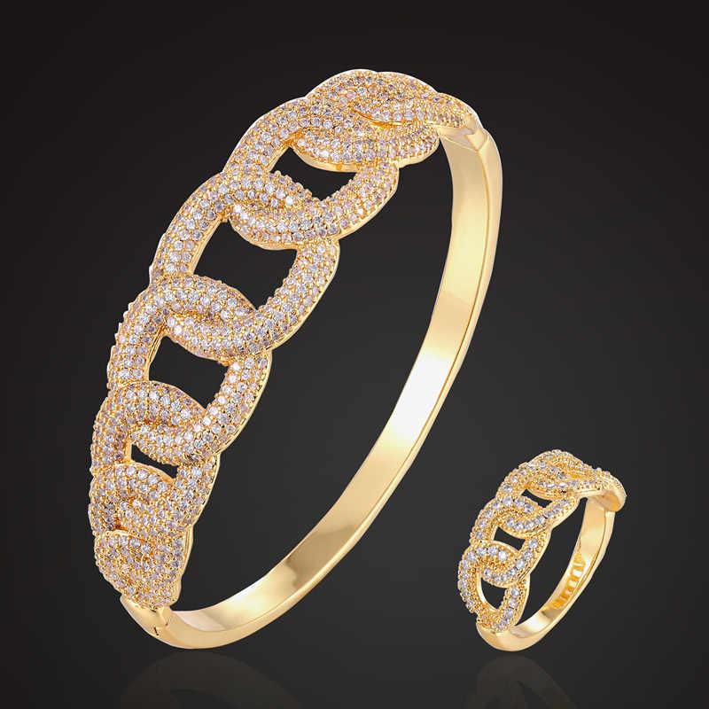 Zlxgirl classique cubique Zircon serpent ensembles de bijoux femmes bijoux de fiançailles ensembles en métal marque or couleur cuivre bracelet avec anneau ensemble