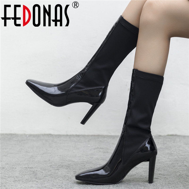 FEDONAS New Black Women Genuine Leather Mid-calf Boots Square Toe High Heels Boots Punk Riding Boots Warm Winter Shoes Woman