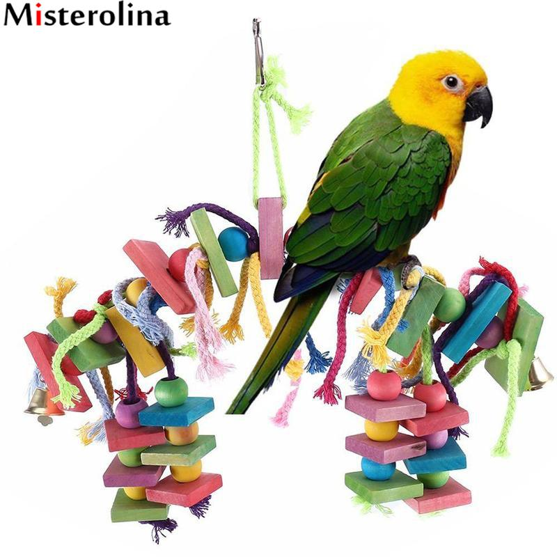 Misterolina Parrot Toys Pet Bird Bites Climb Chew Toy Hanging Play Stand Bird Parrot Gym Perch Knots Block Chewing Toy PAM2053