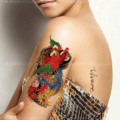 Tatuajes Pegatina colorida atractiva phoenix europeo tatuaje temporal del tatuaje
