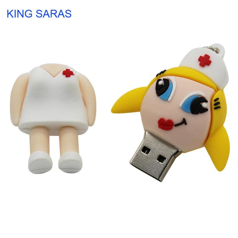 Image 4 - KING SARAS  mew style cartoon nurse model usb2.0 4GB 8GB 16GB 32GB 64GB pen drive USB Flash Drive creative Pendrive-in USB Flash Drives from Computer & Office