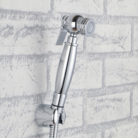 Chrome brass Toilet Hand held Bidet set ,Diaper Sprayer, Shower Shattaf Bidet Spray Douche kit Jet with holder 1.5m hose