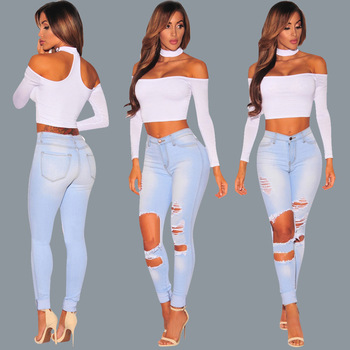 Summer new fashion wear old gradient womens jeans casual sexy hole female trousers high waist women