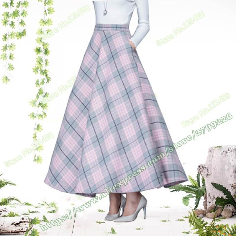 Winter 30 Wool Plus Size 6XL Fashion Lattice Plaid Pink Woolen Female Long a line Skirt