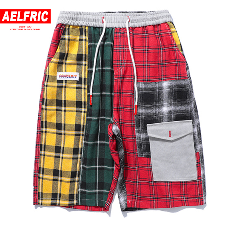 AELFRIC Colorful Plaid Casual Shorts Pockets Hip Hop Fashion Men Harem Short Joggers Kanye West Streetwear Male Boardshorts UR10
