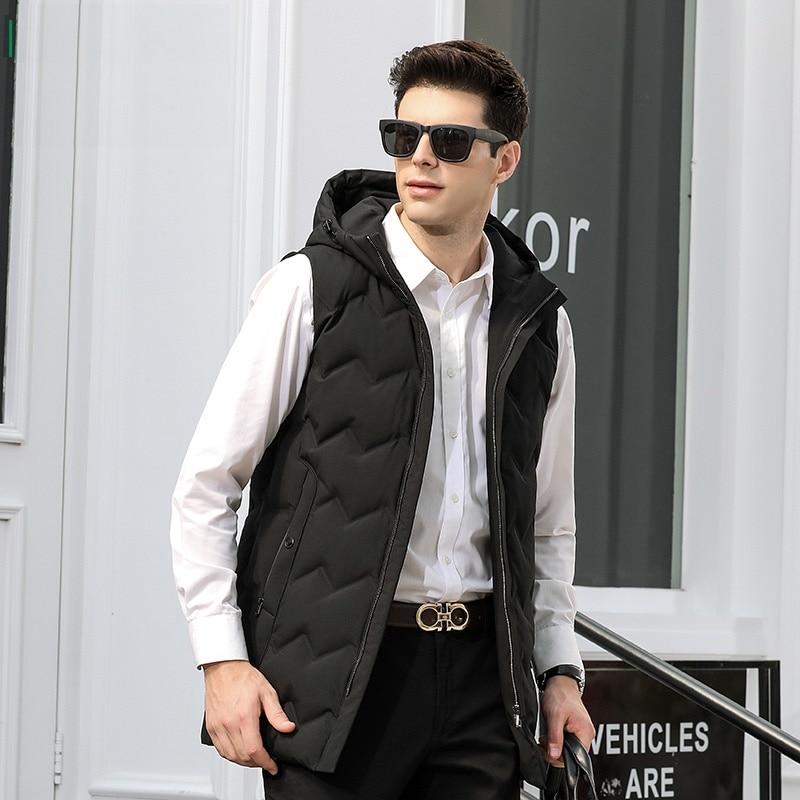 2018 New Men's White Duck   Down   Vest Warm Slim   Down     Coat   with Hat for Men Male
