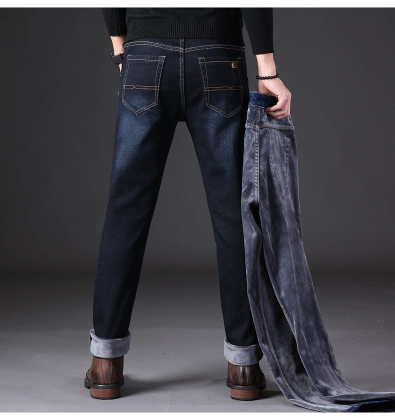 KSTUN Autumn Winter Thick Jeans Men Black Blue Elasticity Velvet Slim Fit High Quality Famous Brand