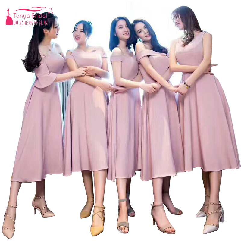 438311d90943a Dusty Blush Soft Satin Bridesmaid Dress 2018 Tea Length 6 Styles Elegant  Maid Of Honor Gowns Special ...