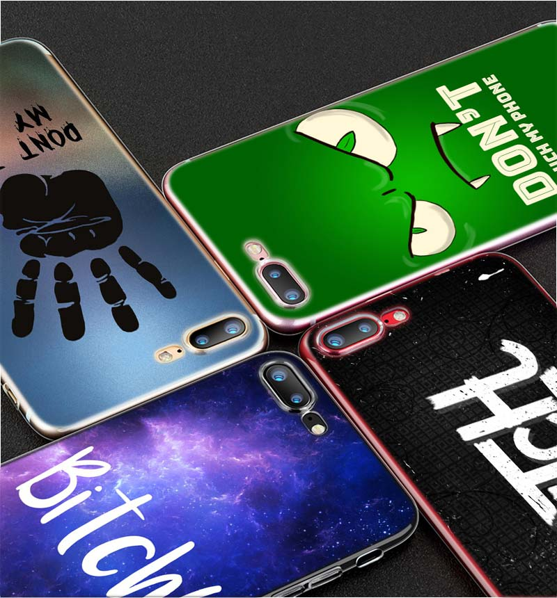 Transparent Soft Silicone Phone Case DON 39 T TOUCH MY PHONE BITCH for iPhone XS X XR Max 8 7 6 6S Plus 5 5S SE in Fitted Cases from Cellphones amp Telecommunications
