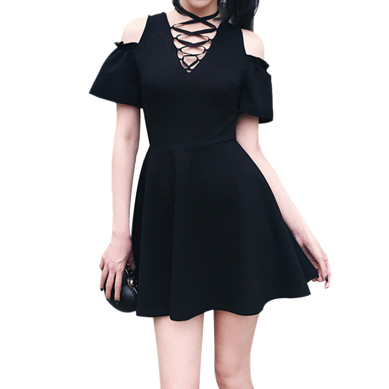 Summer Dress Bandage Hollow Out Sexy Dresses Women Party Dress Black Off Shoulder Harajuku Black Dress
