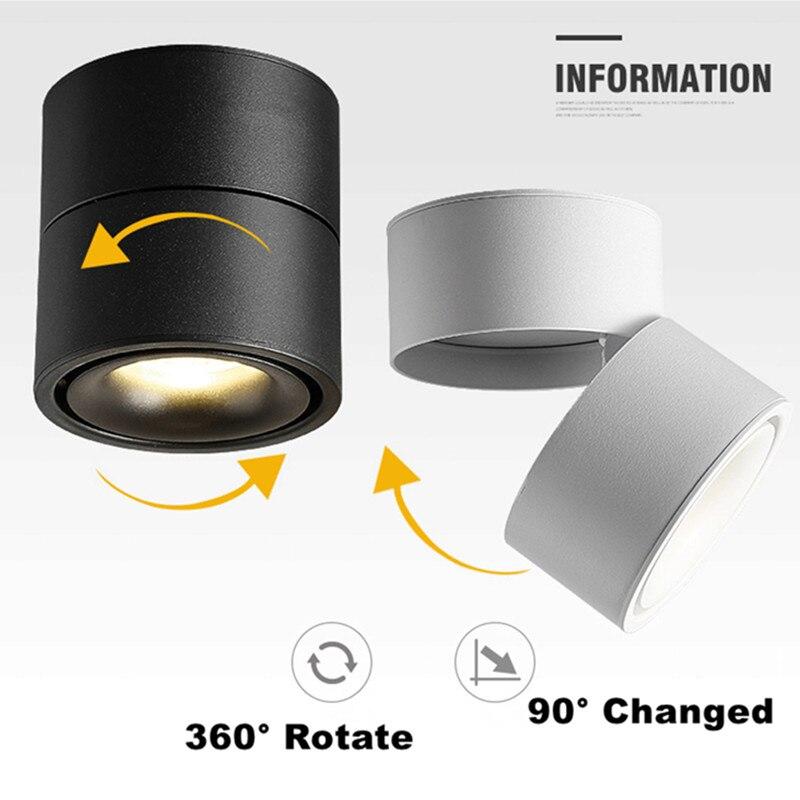 Plafonniers LED 7 W 10 W 12 W 15 W LED plafonnier monté en Surface, pliable et projecteur d'intérieur rotatif de 360 degrés COB