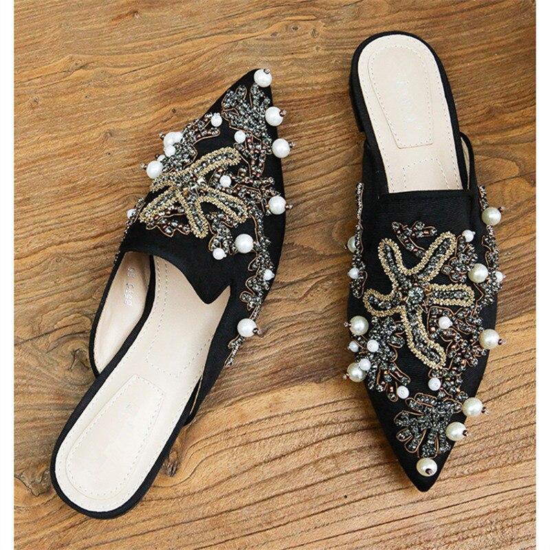 Noir Perle Sandales Décontractées Profonde Noir Femmes Gladiateur D'été Peu Appartements Femme blanc Mode Tongs Avec De Chaîne Mules bleu Chaussures Pour rBeWxdCo