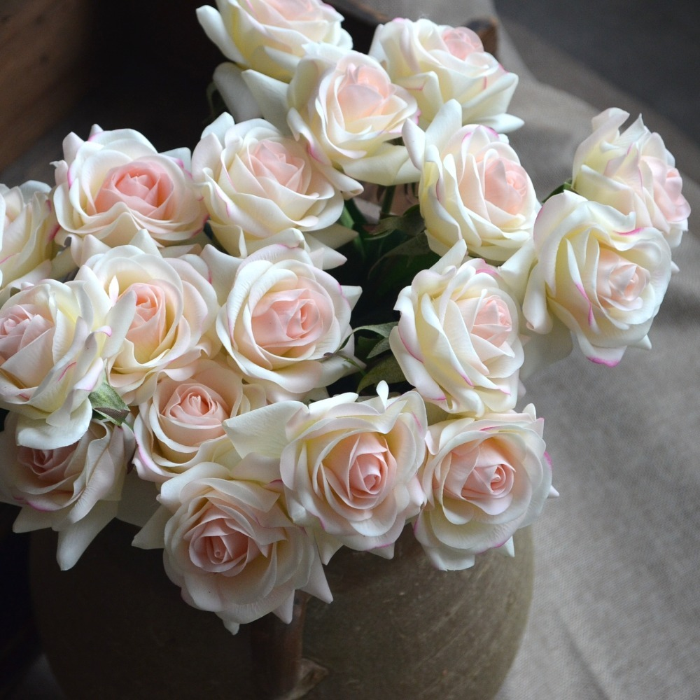 Light Blush Rose Real Touch Silk Roses Diy Silk Bridal Bouquets