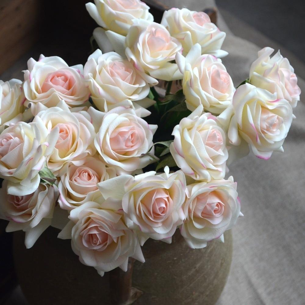 Aliexpress Buy Light Blush Rose Real Touch Silk Roses Diy Silk
