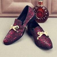 2017 Одежда высшего качества Мужская обувь роскошные цвет красного вина горный хрусталь шипованных мужские лоферы с бантом Высококачественн