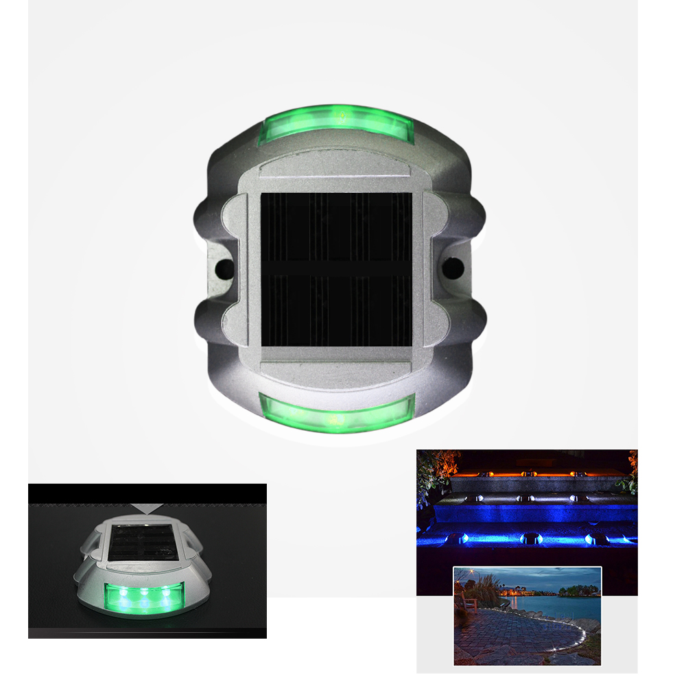 Green Solar Powered Maintenance Free Night Sensor Self Luminous Sidewalk Commercial  Area Road Stud Light