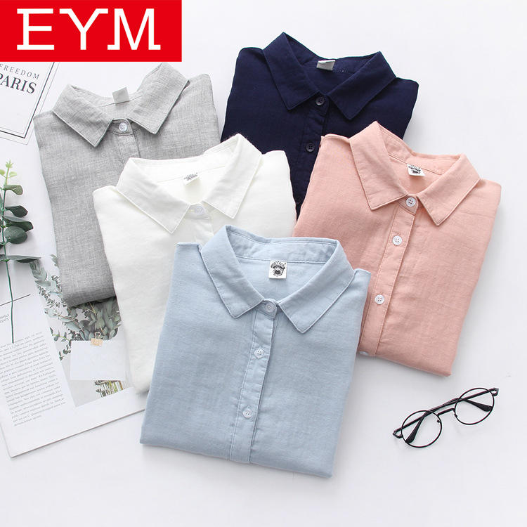 EYM 2019 New Spring Women Fashion Long Sleeve   Shirt   Solid Color   Blouse     Shirt   Loose Casual Simple Style Blosues Tops Ladies Blusa