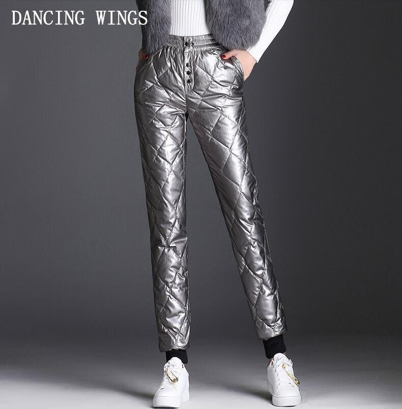 90% белый утиный пух брюки женские зимние толстые двухсторонние хлопковые брюки с высокой талией тонкие балки брюки повседневные брюки