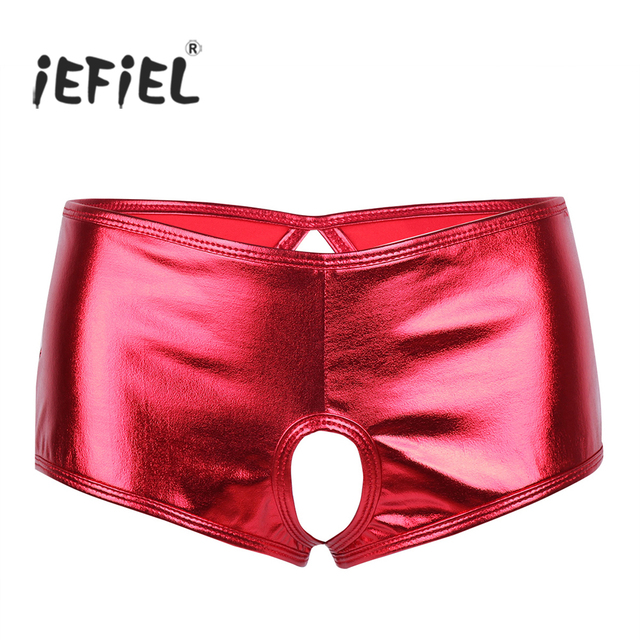 Women Lingerie Wetlook Open Butt Faux Leather Crotchless Bikini Brief Underwear Underpant Sexy With Hole Panties