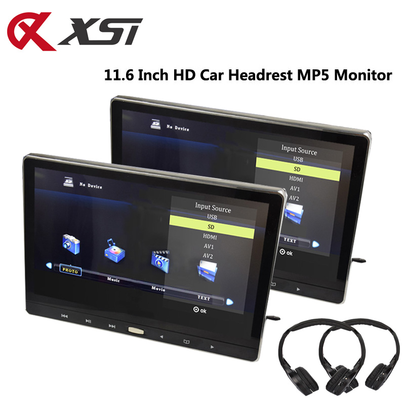 XST 2PCS 11 6 Inch Car Headrest Monitor MP5 Player Touch Button IPS Screen HD 1080P