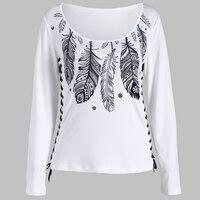 KYMAKUTU Veer Print Tshirt Dames Dubbele Bandage Wit Tee Shirt Femme O Hals T-shirts voor Vrouwen Herfst Tops S-XL