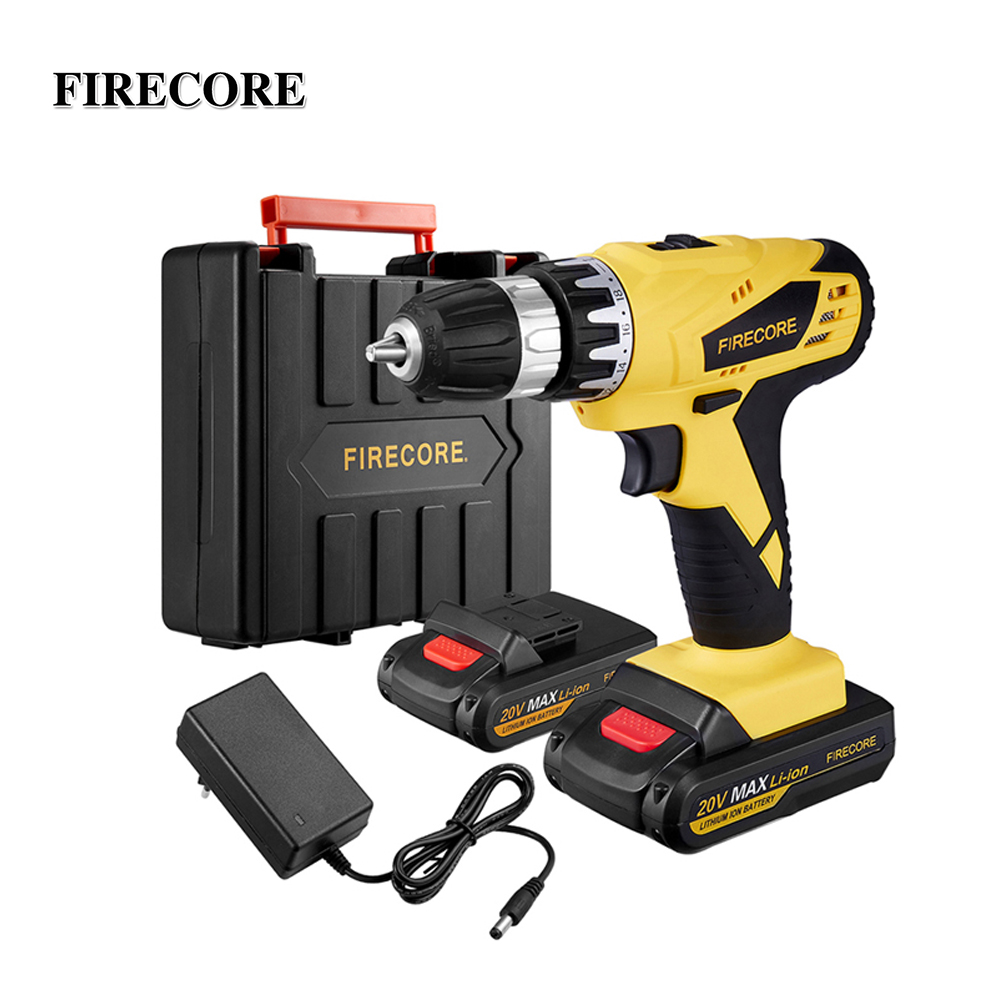 FIRECORE FED 21A 20V Max Electric Screwdriver Set Cordless Screwdriver Mini Drill Power Driver DC Lithium Battery 1/2Inch 2Speed