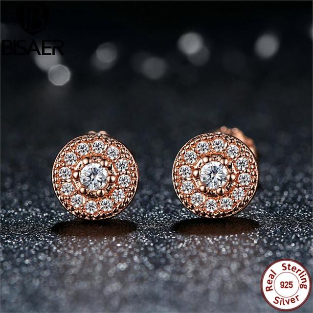 925 Sterling Silver Crystal Earrings Rose Gold Clear Cz Radiant Elegance Stud For Women
