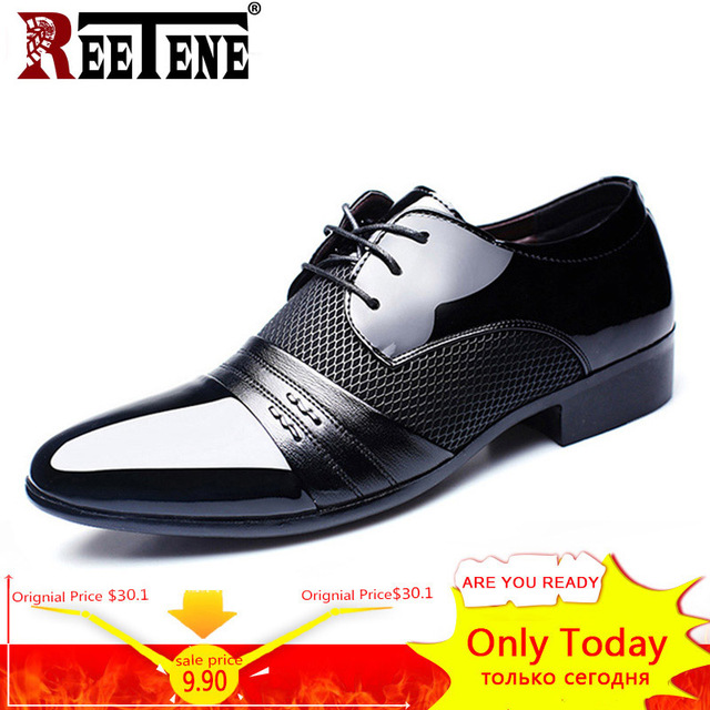 REETENE MenS Dress Shoes Fashion Pu Leather Shoes Men Brands Wedding Oxford Shoes for MenS Breathable Men Formal Footwear