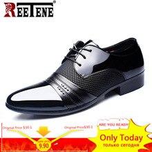 REETENE MenS שמלת נעלי אופנה עור מפוצל נעלי גברים מותגי חתונה אוקספורד נעלי גברים לנשימה גברים נעליים רשמיות