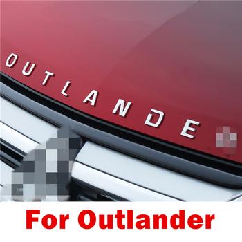 Dla Mitsubishi Outlander stal nierdzewna metal Chrome samochód 3D litery kaptur logo symbol odznaka naklejki samochodowe słowo list akcesoria tanie i dobre opinie DKDFCD 00inch Chrom stylizacja STAINLESS STEEL 0 3kg Chromium Styling For Mitsubishi Outlander Iso9001 for Outlander 2 8cm