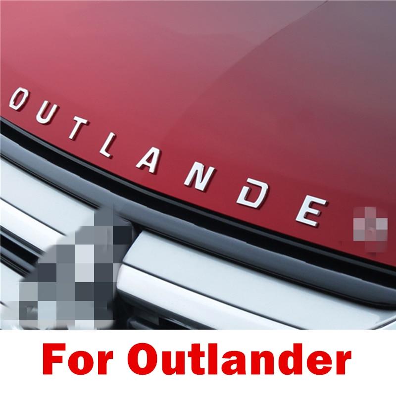 Para Mitsubishi Outlander Cromo 3D Letras Capuz Emblema logotipo Do Emblema Do Carro etiqueta do carro Para Outlander Formulação 3D Carta acessórios