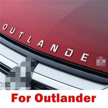 Para Mitsubishi Outlander, acero inoxidable, metal cromado, letras 3D, emblema de capó, logo, pegatina de coche, accesorios de letras