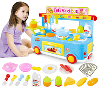Bessidi 29Pcs Electric Fast Food Bus Kitchen Toys Vivid Sound Fire Light Miniature Kitchen Play Toys for Children Gift With Box