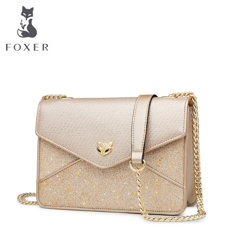 FOXER Brand Girls Playful Patchwork Crossbody Bags Female Gold Chains Shoulder Bag Chic Women Sequin Flap
