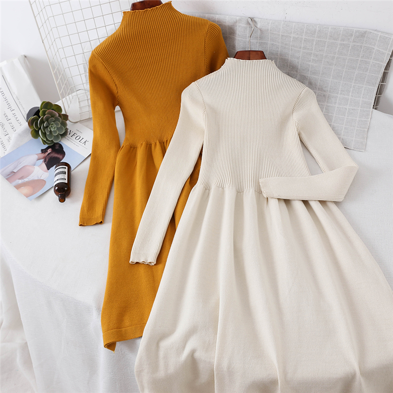 2019 New Fashion Womens Sweater Dress Turtleneck Pullover Casual Slim Bottoming Women Spring Autumn Ladies Knitted Sweater Dress