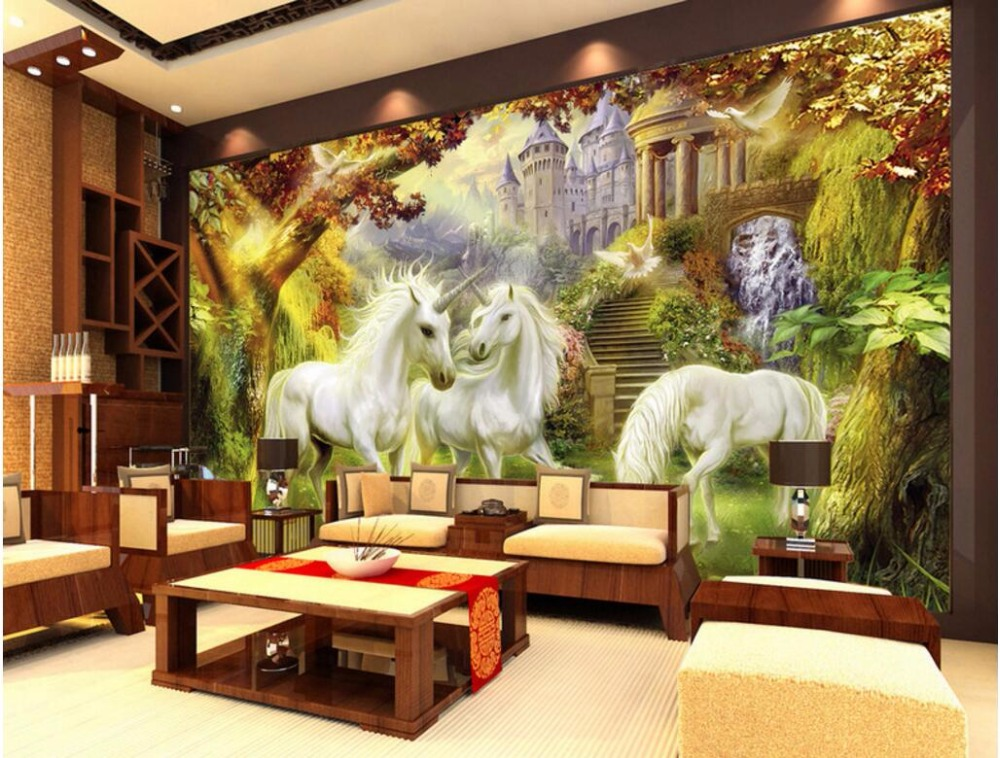 Custom mural 3d wallpaper picture european forest unicorn for Living room decor ideas with wallpaper
