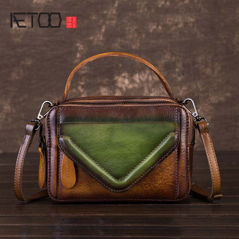 AETOO 2018 new personality Shiro color ladies Shoulder Messenger small square bag Original retro craft first layer leather bag qiaobao 2018 new korean version of the first layer of women s leather packet messenger bag female shoulder diagonal cross bag