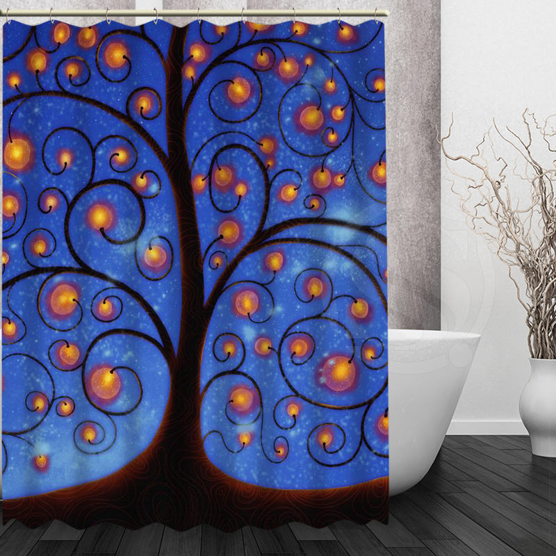 Aliexpress Buy Custom Klimt Tree Of Life Shower Curtain Polyester Beautiful New Arrival Home Bathroom Bath Screens From Reliable Screen