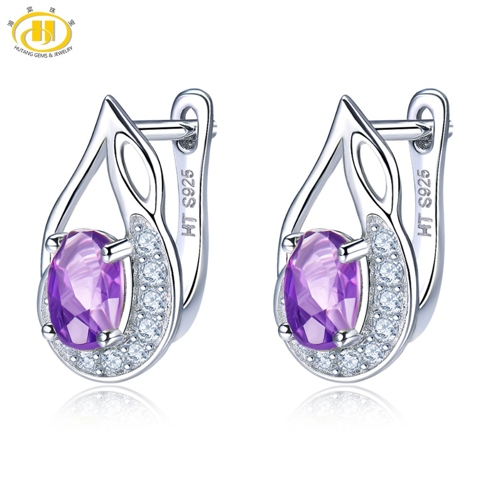 Hutang Natural Gemstone Amethyst Clip Earrings Solid 925 Sterling Silver Fine Fashion Stone Jewelry For February Birthday Gift